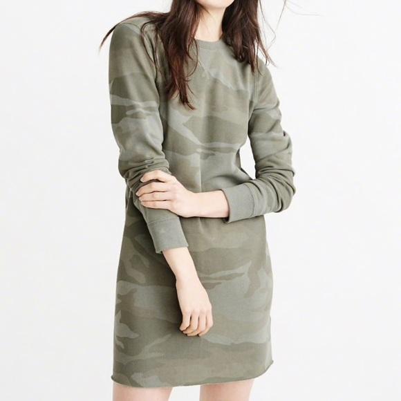 4ba7135c79f Abercrombie & Fitch Tops | Abercrombie Fitch Camo Sweatshirt Dress ...